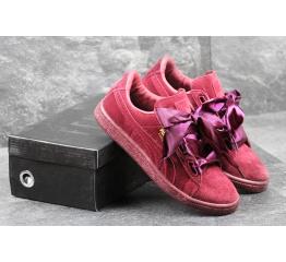 Купить Женские кроссовки Puma Suede Heart Reset бордовые