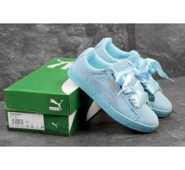 Купить Женские кроссовки Puma Suede Heart Reset голубые