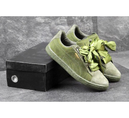 Купить Женские кроссовки Puma Suede Heart Reset зеленые