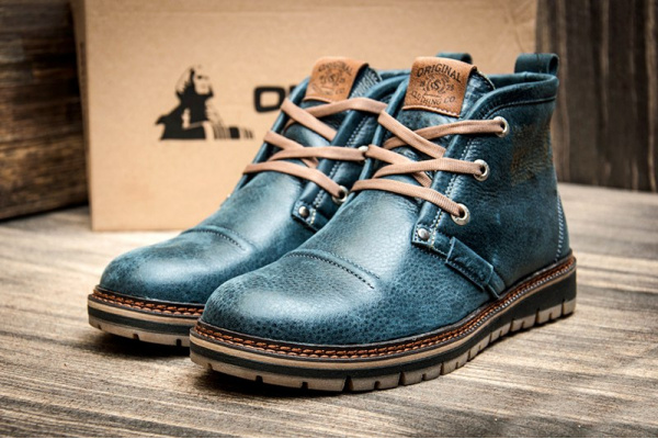 Мужские ботинки Clarks зимние синие