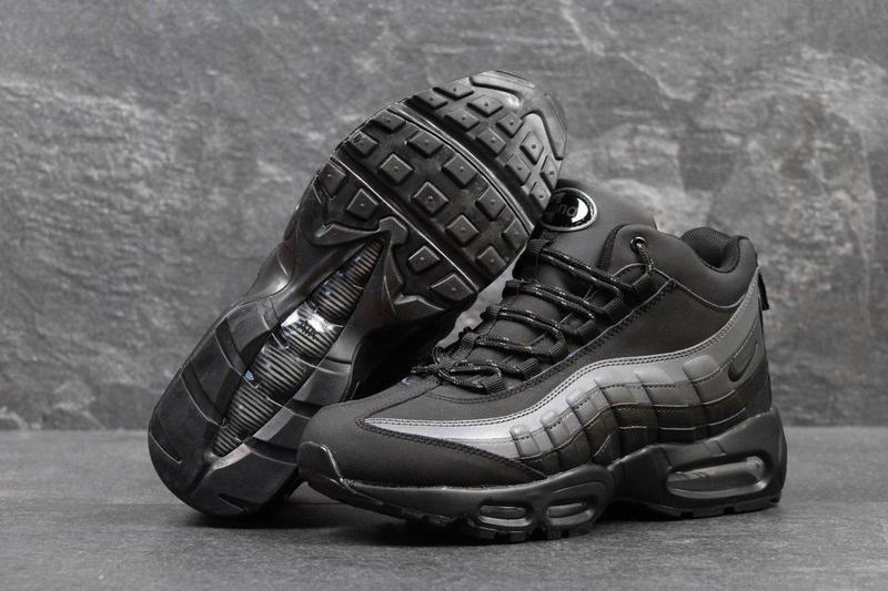 69e24bd0 Мужские высокие зимние кроссовки Nike Air Max 95 Boots черные с серым