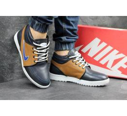 Купить Мужские высокие зимние кроссовки Nike черные с коричневым