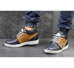Купить Мужские высокие зимние кроссовки Nike черные с коричневым в Украине