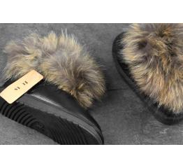 Купить Жіночі чоботи угги с меховой опушкой чорні в Украине