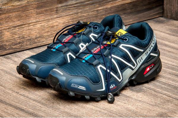 Мужские кроссовки Salomon SpeedCross 3 темно-синие с белым