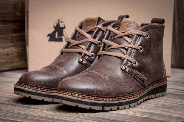 Мужские ботинки Clarks зимние коричневые