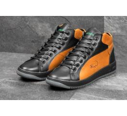 Купить Мужские ботинки Lacoste зимние черные с рыжим