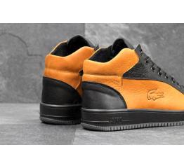 Купить Мужские ботинки Lacoste зимние черные с рыжим в Украине