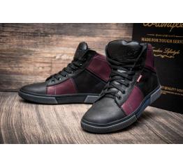 Мужские ботинки Wrangler зимние черные с бордовым