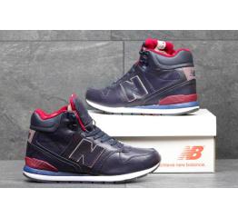 Купить Мужские высокие кроссовки на меху New Balance 696 Mid-Cut темно-синие с красным