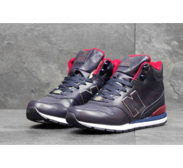 Купить Чоловічі високі кросівки зимові New Balance 696 Mid-Cut темно-сині з червоним в Украине
