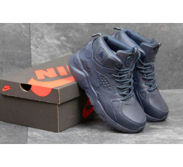 Купить Мужские высокие кроссовки на меху Nike Air Huarache ACG темно-синие в Украине