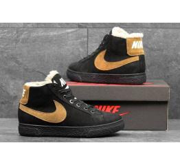 Купить Мужские высокие кроссовки на меху Nike Blazer Mid черные с коричневым