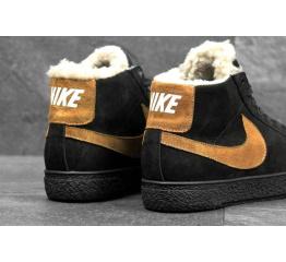 Купить Мужские высокие кроссовки на меху Nike Blazer Mid черные с коричневым в Украине