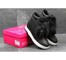 Женские ботинки черные с белым