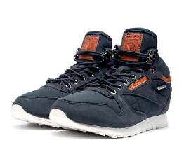 Купить Мужские высокие кроссовки на меху Reebok Classic Leather Mid темно-синие