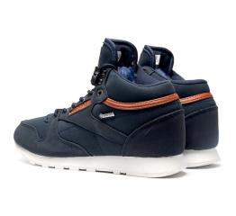 Купить Мужские высокие кроссовки на меху Reebok Classic Leather Mid темно-синие в Украине