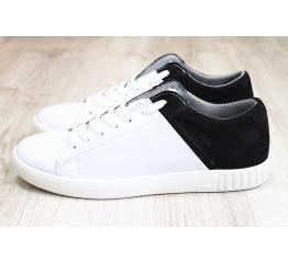 Купить Мужские туфли сникеры белые с черным