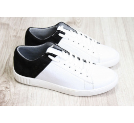 Купить Чоловічі туфлі снікери білі з чорним в Украине