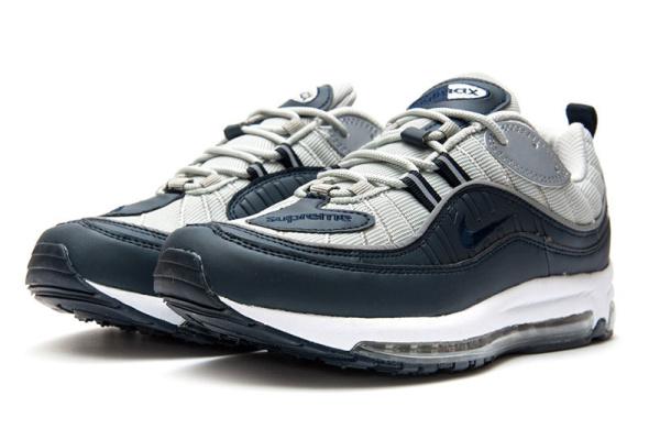 f63c1a8c Мужские кроссовки Nike Air Max 98 x Supreme серые с темно-синим