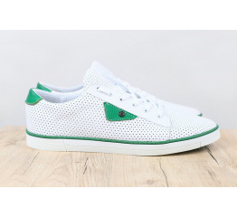 Купить Мужские туфли сникеры белые с зеленым с перфорацией