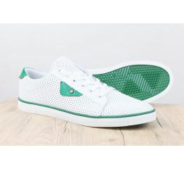 Купить Чоловічі туфлі снікери білі з зеленим з перфорацією в Украине