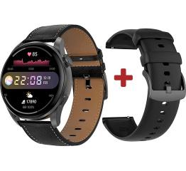 Купить Смарт часы DT3 с ЭКГ Leather black в Украине