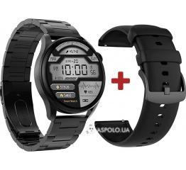 Купить Смарт-годинник DT3 з ЕКГ Metal black в Украине